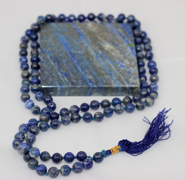 Lapis Lazuli Jap Mala, Jap Mala Necklace, Jap Mala, Mala Necklace, 108 Beads, Double Knotted, Natural Stone, Natural Color, Crystal, Crystal Beads, Gemstone, Meditation, Chakra, India