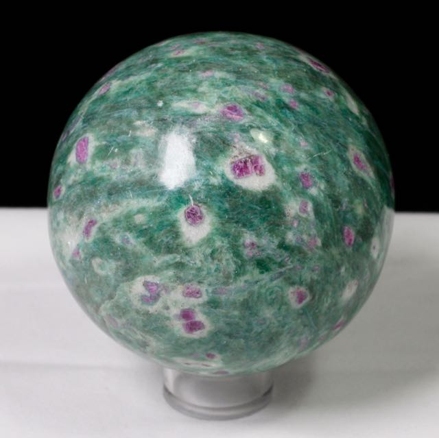 Ruby in Zoisite, Kyanite, Ruby Zoisite, Flourescent Sphere, Natural Stone, Healing, Energy, Rock, Mineral, Crystal, Earth, Collectible, Sphere, Round, Handmade, Gemstone.
