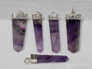 Amethyst Crystal Flat Pendant, Amethyst, Natural Stone, Crystal Point