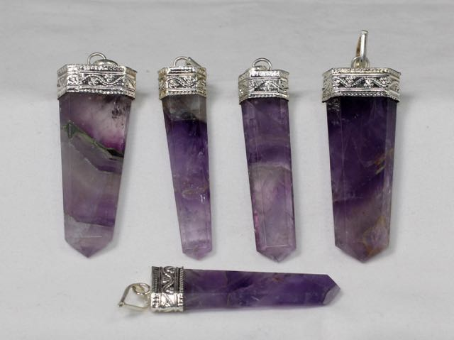 Amethyst Crystal Flat Pendant, Amethyst, Natural Stone, Crystal Point