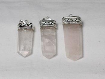 Rose Quartz Crystal Flat Pendant, Rose Quartz, Natural Stone, Crystal Point