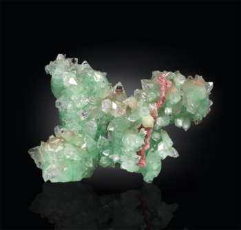 Green Apophyllite with Pink Chalcedony, collector specimen, minerals