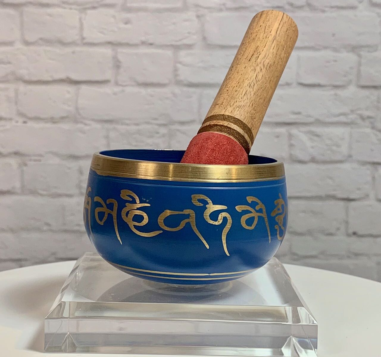Brass Singing Bowl in Blue Small