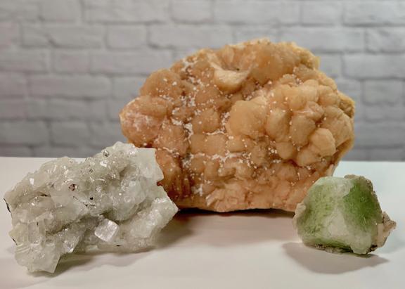 3 Piece Mineral Stilbite Green Apophyllite