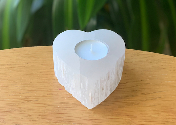 Selenite Small Heart Tealight
