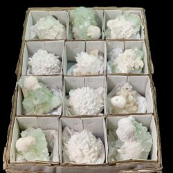 12 Pcs Green Apophyllite and Modernite specimens
