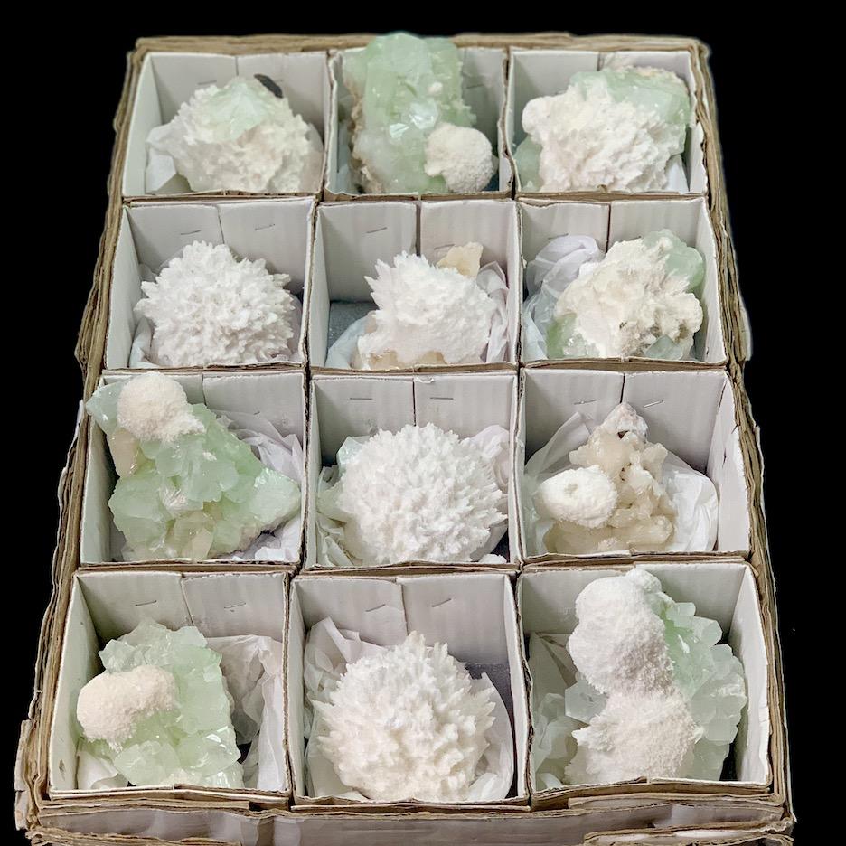 12 Pcs Green Apophyllite and Modernite specimens