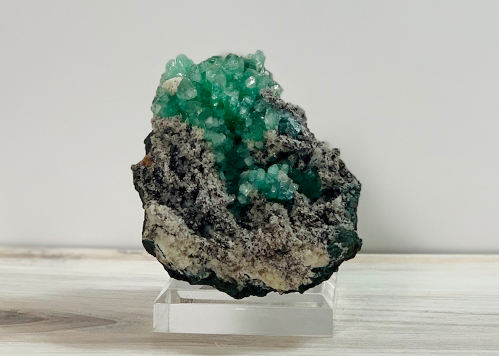 Green Apophyllite on chalcedony matrix