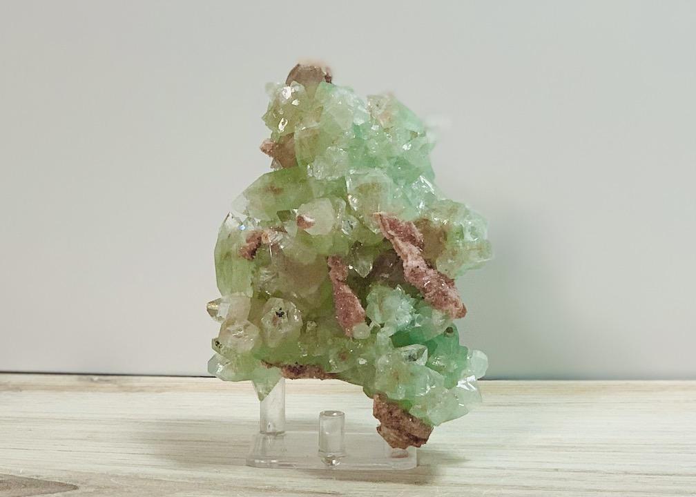 Green Apophyllite on Pink Chalcedony matrix